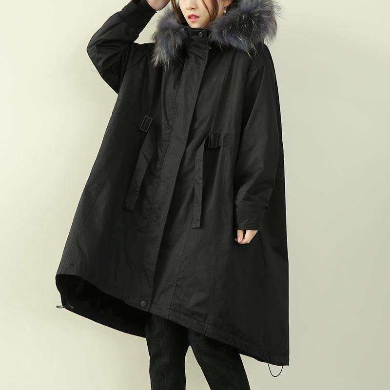 Casual oversized winter outwear black hooded faux fur collar winter parkas