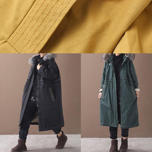 Casual plus size Jackets & Coats hooded outwear army green drawstring coat