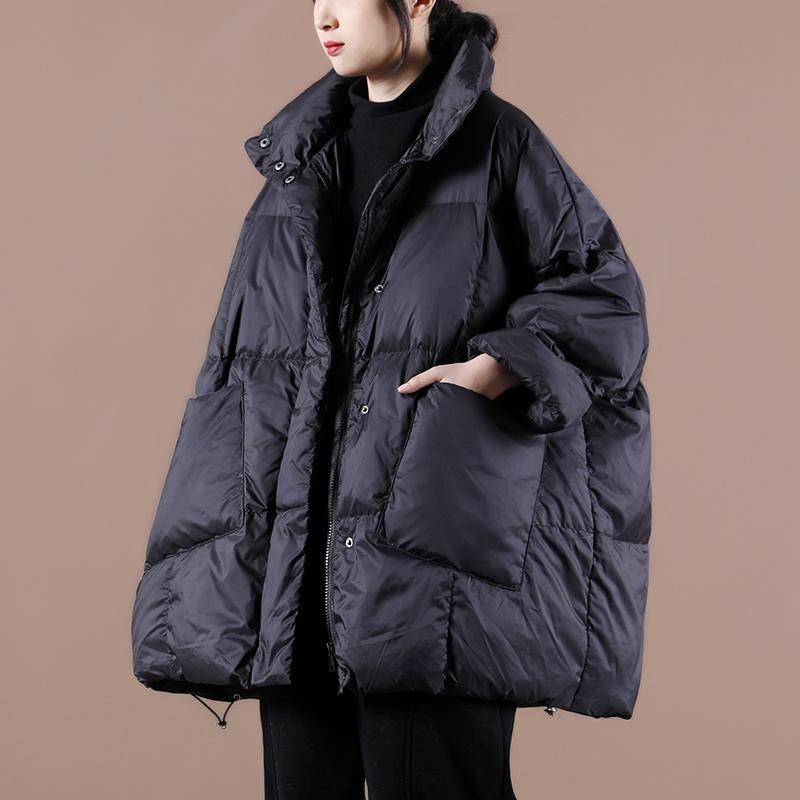Casual plus size clothing womens parka Jackets black stand collar Large pockets down coat winter