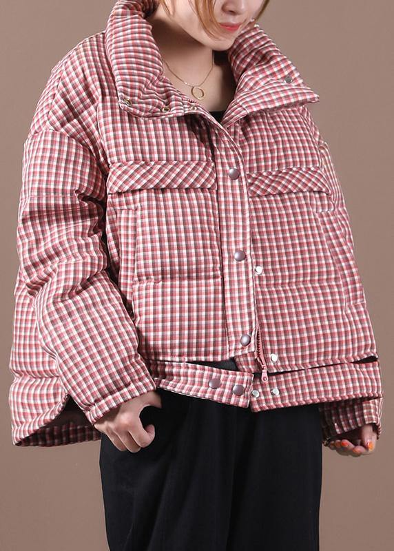 Casual plus size snow jackets red plaid stand collar down jacket woman