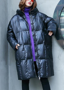 Casual plus size warm winter coat overcoat black hooded zippered Parkas