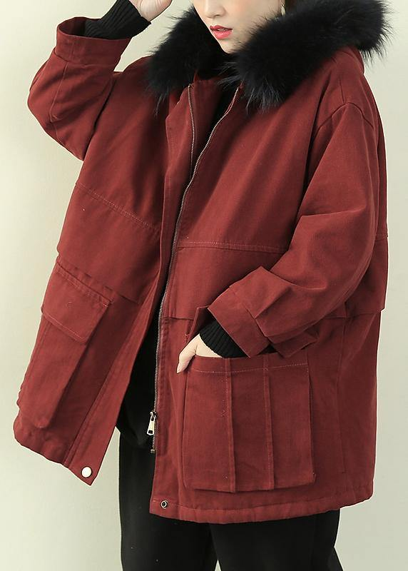 Casual plus size warm winter coat wintercoats red faux fur collar outwear