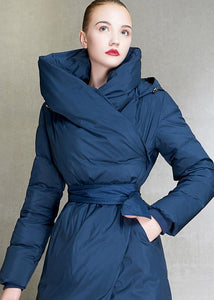 Casual plus size womens parka hooded overcoat blue tie waist down coat winter