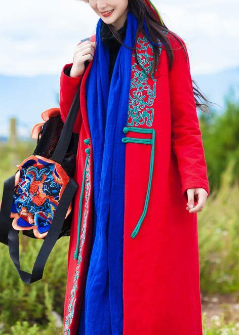 Casual red coat oversized down jacket embroidery winter overcoat