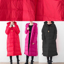 Load image into Gallery viewer, Casual red quilted coat casual quilted coat thick hooded coats Chinese Button