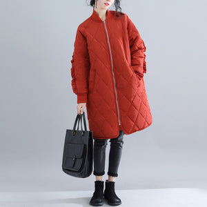 Casual red women parka trendy plus size stand collar Jackets & Coats Luxury ruffles coats
