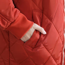 Load image into Gallery viewer, Casual red women parka trendy plus size stand collar Jackets & Coats Luxury ruffles coats