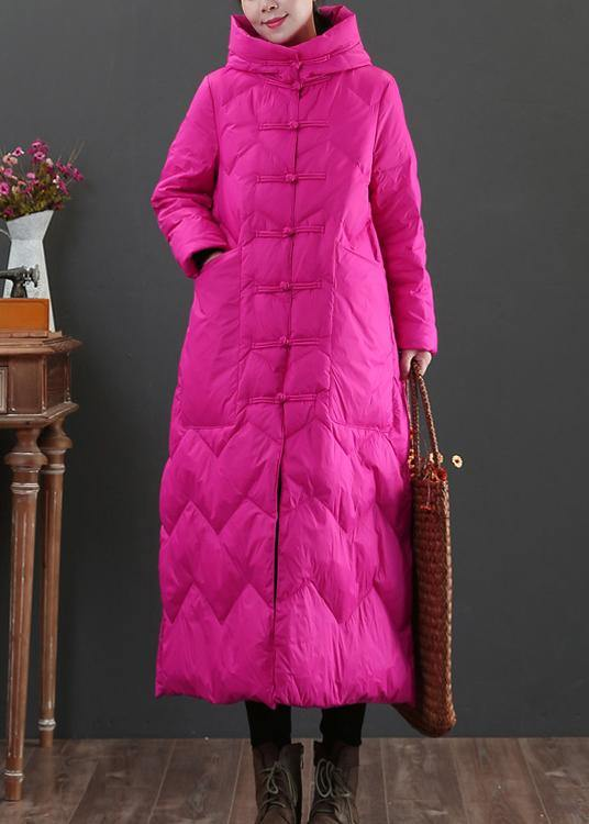 Casual rose warm winter coat Loose fitting womens parka hooded Chinese Button Warm outwear