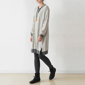 Casual striped oversized dress cotton shirt dresses plus size pullover caftans