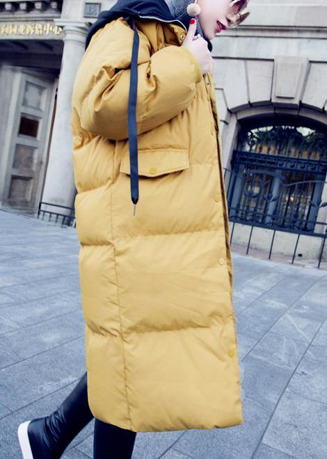 Casual trendy plus size down jacket overcoat yellow hooded drawstring down jacket woman