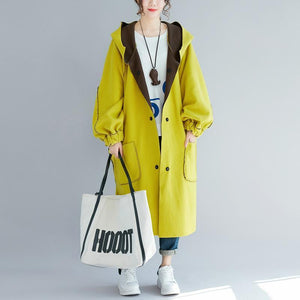 Casual yellow women parka trendy plus size hooded two ways to wearwinter jacket Elegant low high design winter coats