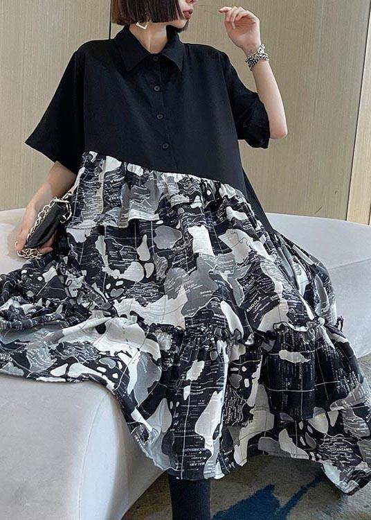 Chic Black Patchwork Print Cotton Button Summer Maxi Dress