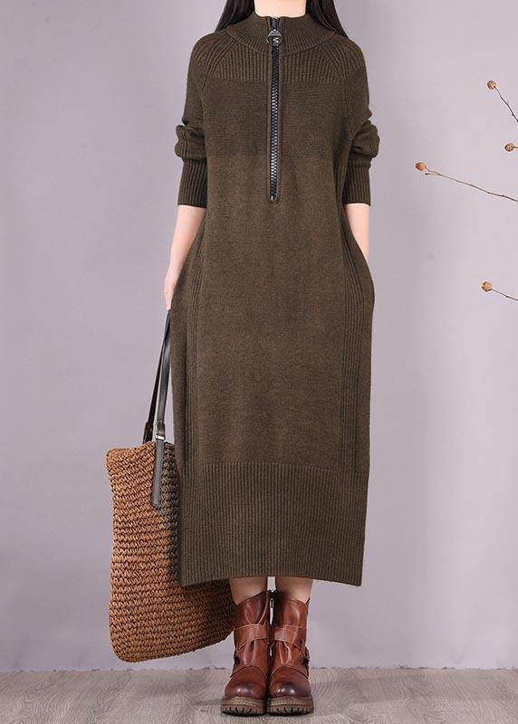 Chic Chocolate Dresses Zippered Pockets Maxi Spring Dress
