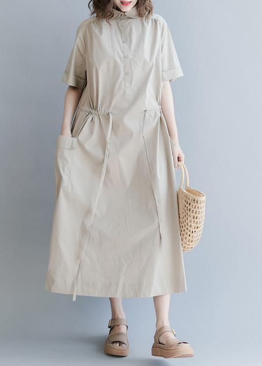 Chic Drawstring Cotton Summer Clothes For Women Runway Khaki long Dresses