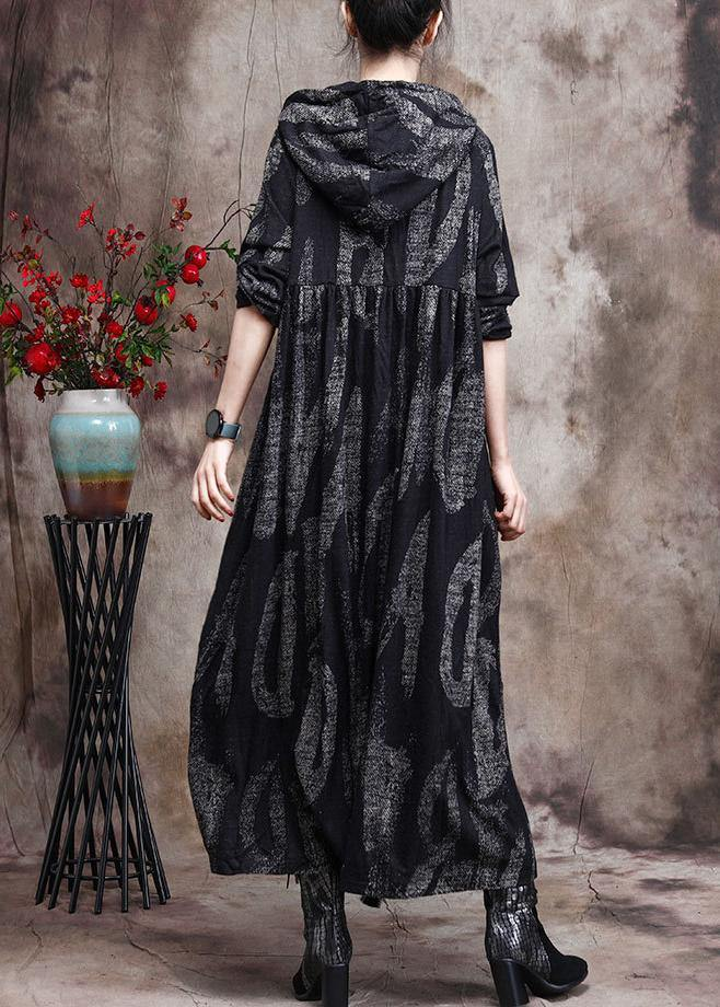 Chic Hoodie Baggy Maxi Dresses Black Print Long Dresses
