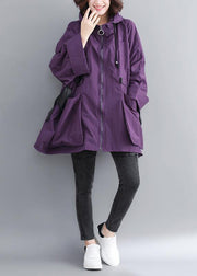 Chic Hooded Tie Waist Plus Size Spring Coats Women Purple Dresses Jackets
