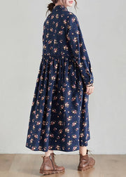 Chic Lapel Cinched Spring Tunics Shape Navy Print Traveling Dress