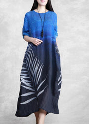 Chic O Neck Asymmetric Spring Tunics Blue Black Print Plus Size Dresses
