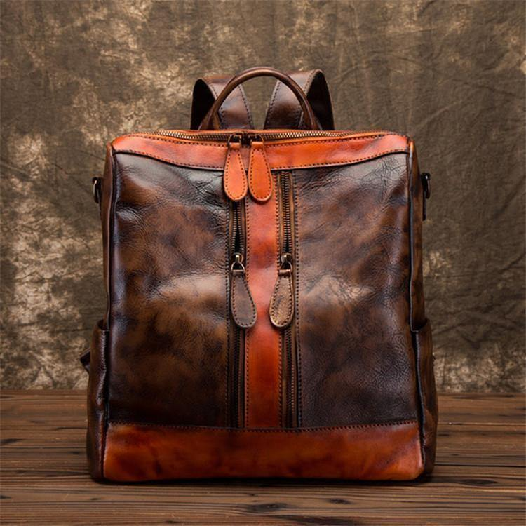 Chic Omychic Casual Travel chocolate Color Matching Leather Backpack