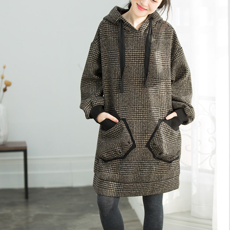 Chic Plaid Cotton Tunics Sweets Shape hooded oversized spring Dresses