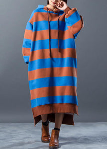 Chic Sweater dresses Beautiful Hoodies Split Stripe Knitted Winter Dress