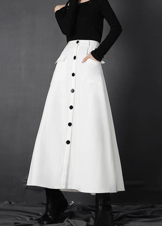 Chic White zippered A Line Skirts Summer