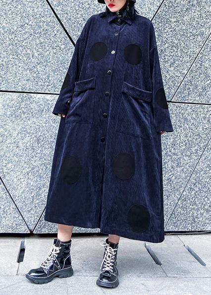 Chic big pockets Fine winter trench coat navy silhouette jackets