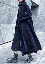 Load image into Gallery viewer, Chic big pockets Fine winter trench coat navy silhouette jackets