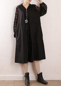 Chic black Plus Size trench coat Fabrics o neck zippered fall outwears