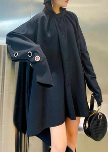 Chic black blouses for women stand collar asymmetric Plus Size Clothing blouses