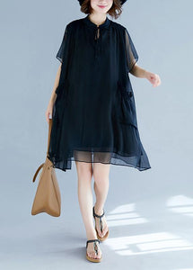 Chic black chiffon clothes For Women 18th Century Work stand collar pockets Robe Summer Dresses