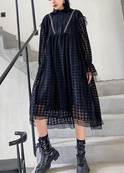 Chic black cotton Tunics hollow out cotton robes o neck Dresses