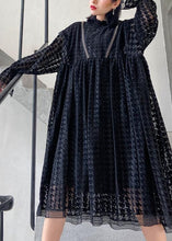 Load image into Gallery viewer, Chic black cotton Tunics hollow out cotton robes o neck Dresses