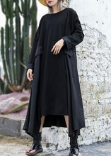 Load image into Gallery viewer, Chic black cotton quilting dresses patchwork Plus Size fall Dress