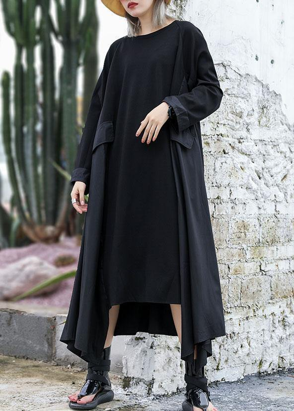 Chic black cotton quilting dresses patchwork Plus Size fall Dress