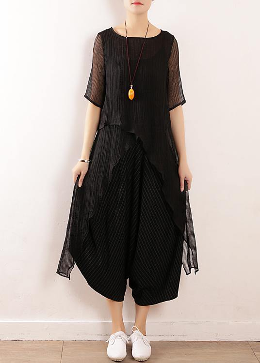 Chic black linen clothes For Women o neck short summer blouses