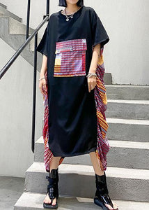 Chic black patchwork print cotton Wardrobes o neck Maxi summer Dresses
