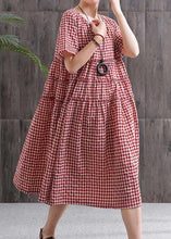 Load image into Gallery viewer, Chic black plaid linen cotton dresses o neck patchwork oversized summer Dresses