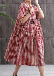 Chic black plaid linen cotton dresses o neck patchwork oversized summer Dresses