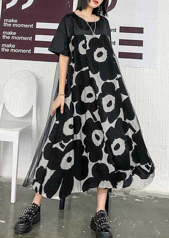 Chic black print quilting clothes o neck patchwork Maxi Dress