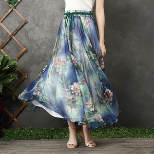 Chic blue floral chiffon Long Shirts elastic tie waist long summer Dress