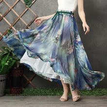 Load image into Gallery viewer, Chic blue floral chiffon Long Shirts elastic tie waist long summer Dress