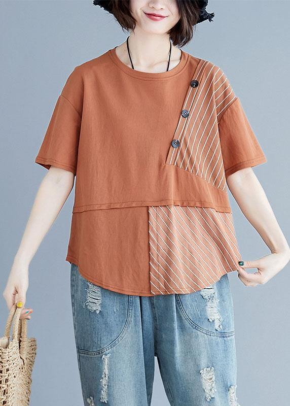 Chic brown cotton shirts o neck patchwork loose summer top