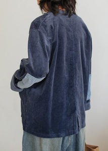 Chic dark blue cotton Blouse stand collar pockets tunic shirts