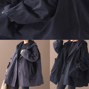 Chic dark gray top quality outwear Inspiration hooded false two pieces jackets
