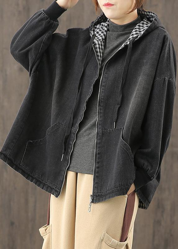 Chic denim black clothes hooded pockets baggy blouse