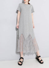 Load image into Gallery viewer, Chic gray cotton clothes Women lace patchwork Maxi summer hollow out Dresses