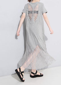 Chic gray cotton clothes Women lace patchwork Maxi summer hollow out Dresses