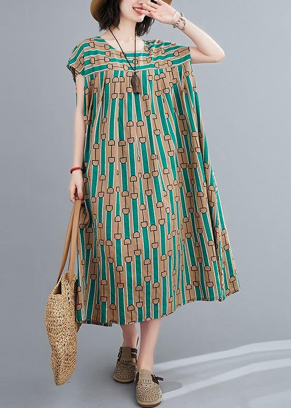 Chic green print dress o neck Cinched Dresses summer Dresses