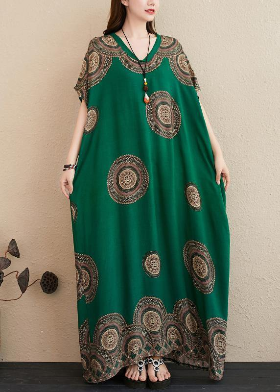 Chic green print outfit v neck Batwing Sleeve Kaftan summer Dresses